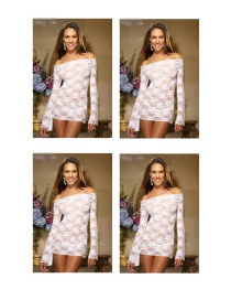 Fashion White Long Sleeved Rose Lace Sexy Nightdress