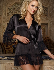Fashion Black Stitching Lace Sexy Nightdress