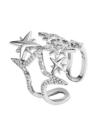 Fashion Silver Openwork Eight-pointed Star Open Diamond Ring