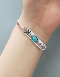 Fashion Ancient Silver Ancient Silver Carved Stone Bracelet
