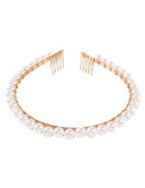 Fashion Gold Alloy String Pearl Winding Headband Hair Comb