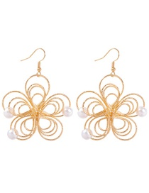 Fashion Gold Alloy Openwork Flower Pearl Earrings