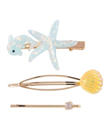 Fashion Light Blue Alloy Diamond Resin Is Also A Shell Hairpin Set