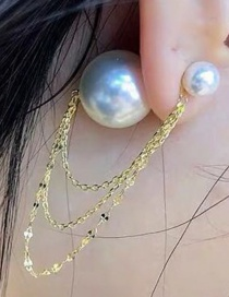 Fashion Gold Alloy Chain Fringed Pearl Earrings