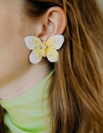 Fashion Gold Alloy Drop Oil Butterfly Stud Earrings