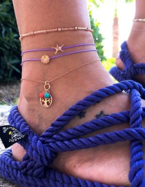 Fashion Gold Line Rope Starfish Life Tree Alloy Shell 4 Piece Set Of Anklets
