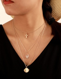 Fashion Gold Alloy Cross Openwork Diamond Palm Shell Multilayer Necklace
