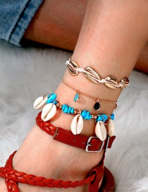 Fashion Gold Diamond Water Drop Braided Wire Rope Turquoise Shell 3 Layer Anklet