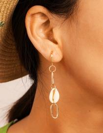 Fashion Gold Metal Chain Shell Earrings