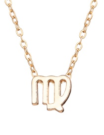Fashion Gold Twelve Constellation Alloy Card Necklace