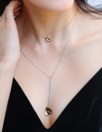 Fashion Gold Metal Moon Natural Stone Pearl Coin Multilayer Necklace
