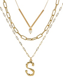 Fashion S Gold Letter Natural Pearl Multi-layer Necklace