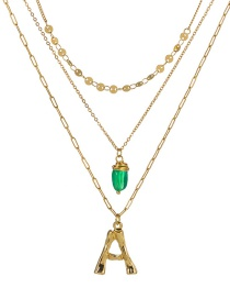Fashion A Gold Letter Green Natural Stone Multi-layer Necklace
