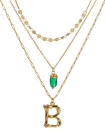 Fashion B Gold Letter Green Natural Stone Multi-layer Necklace
