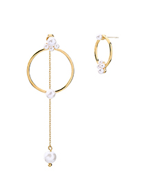 Fashion Gold Circle Geometric Asymmetrical Pearl Earrings