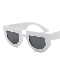 Fashion White Frame Black Gray Piece Irregular Thick-edged Sunglasses