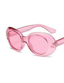 Fashion Powder Frame Powder Oval Particle Lens Sunglasses