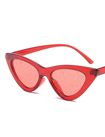 Fashion Red Box Through Red Cat Eye Sunglasses
