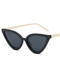 Fashion Black Frame Black Gray Piece (golden Leg) Cat Eye Sunglasses