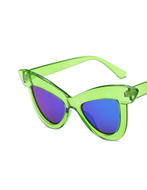 Fashion Transparent Green Blue And Green Tablets Cat Eye Sunglasses