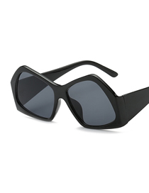 Fashion Bright Black Frame Big Box Polygon Sunglasses