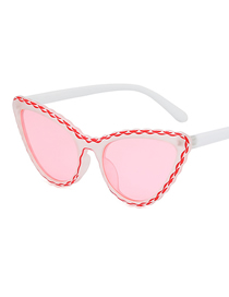 Fashion Red And White Frame Cat Eye Sunglasses