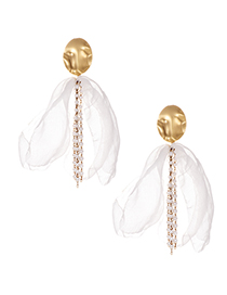 Fashion White Alloy Pearl Fabric Fringe Stud Earrings