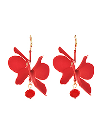 Fashion Red Alloy Double-layer Flower Earrings