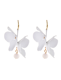 Fashion White Alloy Double-layer Flower Earrings