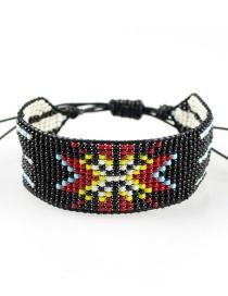 Fashion Black Woven Rice Beads Drawstring Bracelet