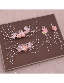 Fashion Pink Hairpin Earring Set