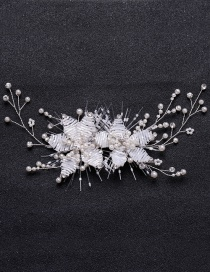 Fashion White Woven Pearl Flower Hair Clip