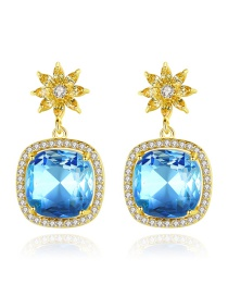 Fashion Blue Square Flower Earrings