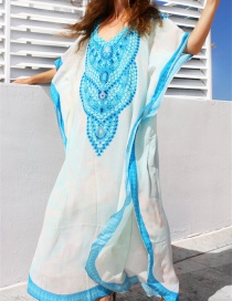 Fashion White Mixed Blue Cotton Printed Blouse