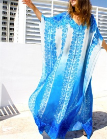 Fashion White And Blue Print Cotton Printed Sunscreen Blouse