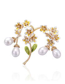 Fashion Yellow Twig Pearl Alloy Brooch