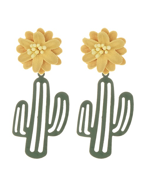Fashion Armygreen Alloy Fabric Flower Openwork Cactus Stud Earrings
