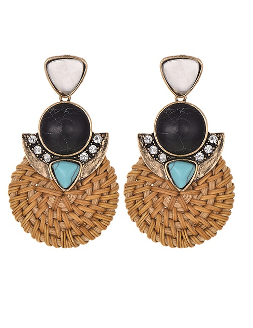 Fashion Color Alloy-studded Wood Rattan Woven Round Geometric Turquoise Earrings