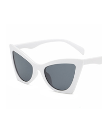 Fashion White Frame Black Gray Piece Cat Eye Sunglasses