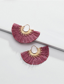Fashion Pink Alloy Cotton Thread Fringed Fan-shaped Earrings