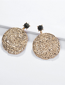 Fashion Gold Alloy Geometric Round Natural Stone Beaten Earrings