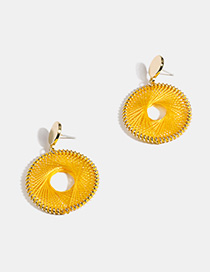 Fashion Yellow Braided Alloy Circle Earrings
