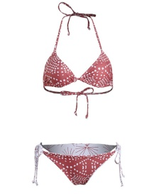 Fashion Red Printed Split Swimsuit