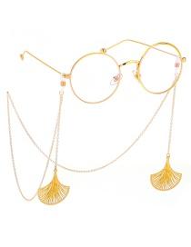 Fashion Gold Non-slip Metal Fan-shaped Leaf Glasses Chain