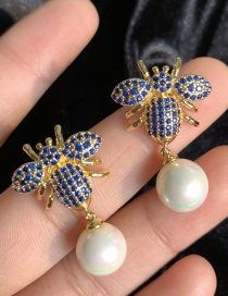 Fashion Blue S925 Silver Needle Bee Pearl Inlaid With Zircon 18k Gold Earrings