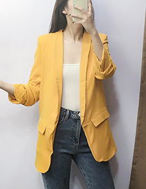 Fashion Yellow Pleated Sleeve Suit
