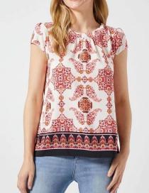 Fashion Red Totem Print T-shirt