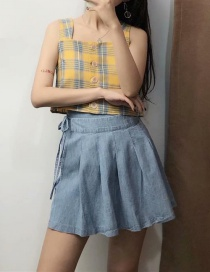 Fashion Blue Side Tie With Pleated Denim Skirt