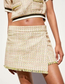 Fashion Yellow Tweed Short Skirt