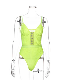 Fashion Fluorescent Green Lace Double Layer Jumpsuit